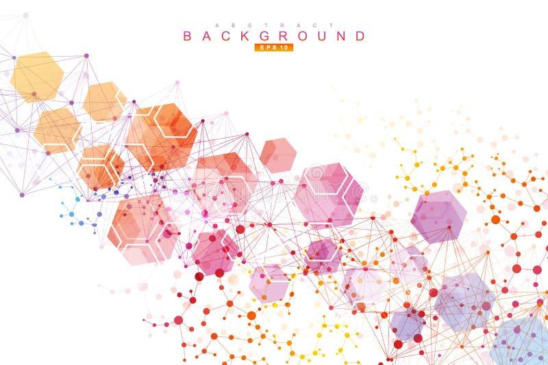 Fundo abstrato sextavado Visualização grande dos dados Conexão de rede global Estrutura dos hexágonos da tecnologia ou ilustração do vetor