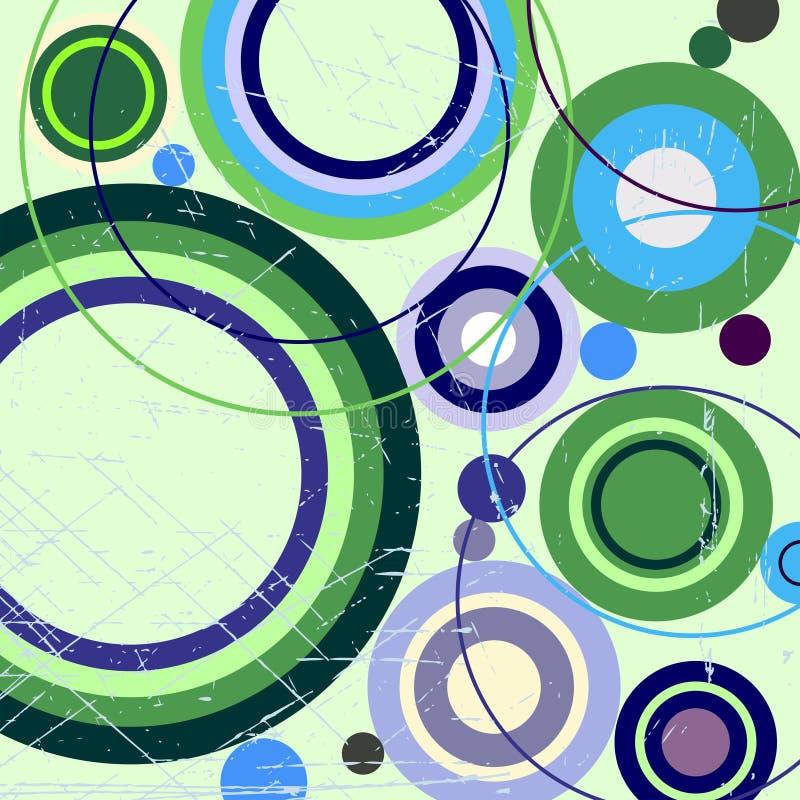 Fundo abstrato sujo com círculos ilustração stock