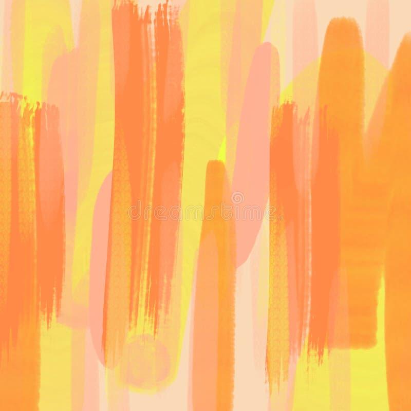 Fundo abstrato, técnica do drybrush, acrílico Teste padrão tirado mão da pintura das pinceladas Cores brilhantes do amarelo e das ilustração stock