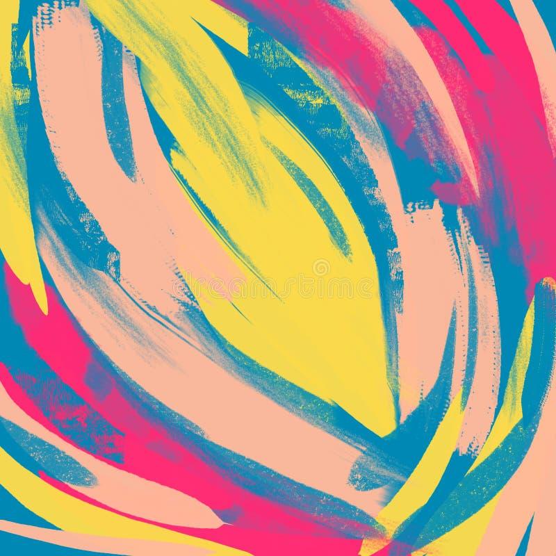 Fundo abstrato, técnica do drybrush, acrílico Teste padrão tirado mão da pintura das pinceladas Cores vermelhas, amarelas, azuis  ilustração do vetor