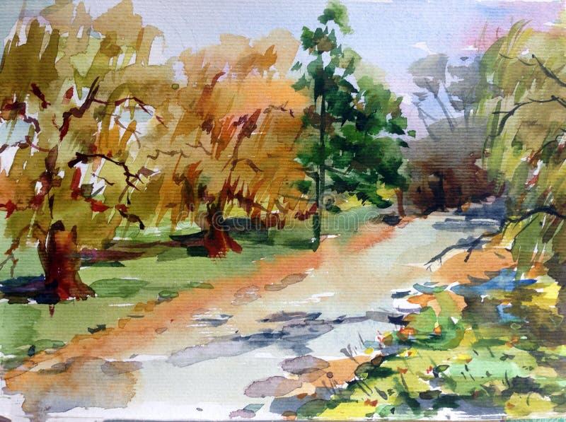 Fundo abstrato textured brilhante colorido da aquarela feito a mão Paisagem mediterrânea Pintura do parque ilustração do vetor