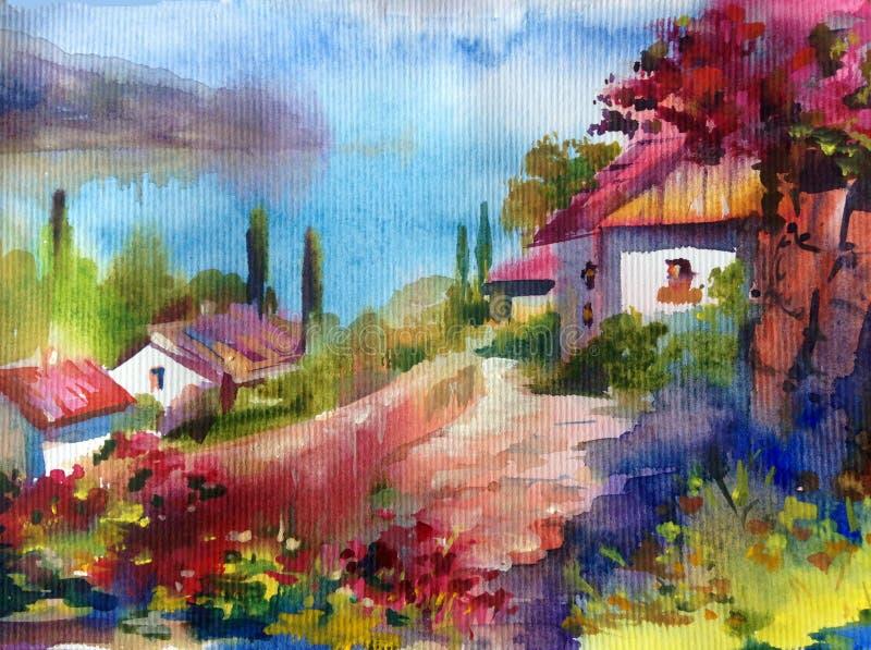 Fundo abstrato textured brilhante colorido da aquarela feito a mão Paisagem mediterrânea Pintura da vila da costa de mar ilustração royalty free