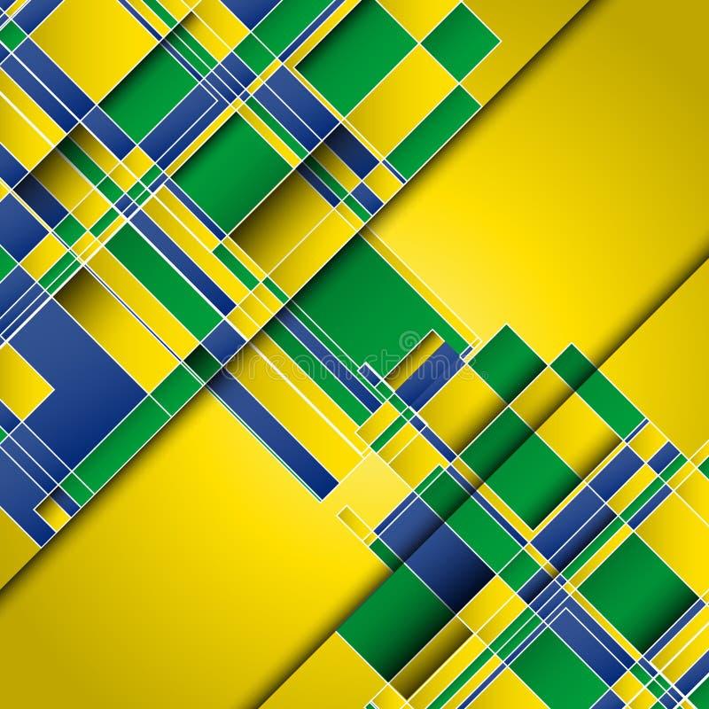 Fundo abstrato usando cores da bandeira de Brasil ilustração stock