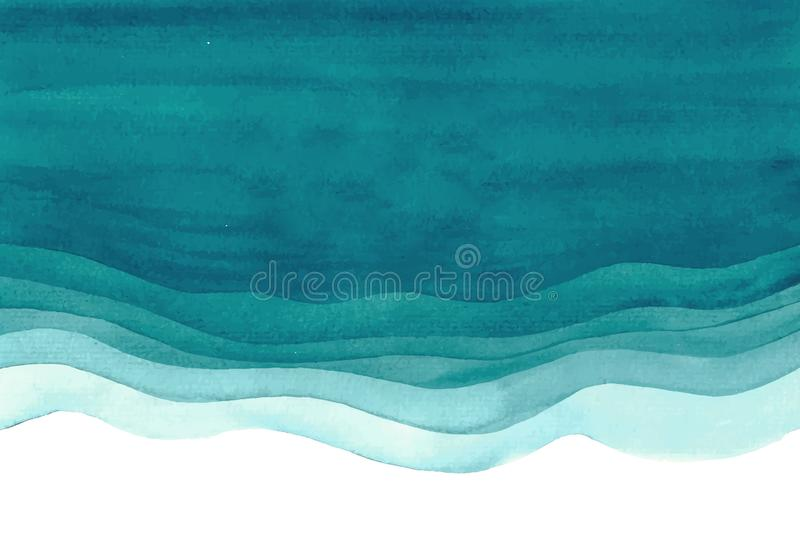 Fundo abstrato verde azul do mar do oceano do watercolour da aquarela fotos de stock