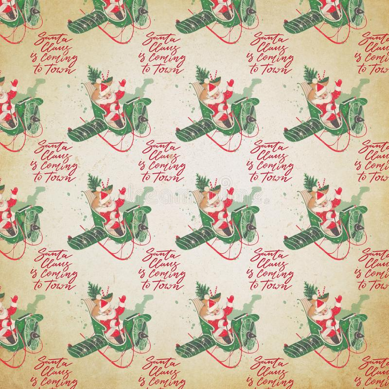 Fundo afligido do feriado do vintage - Santa Collage Digital Paper - Santa em voo de papel ilustração stock