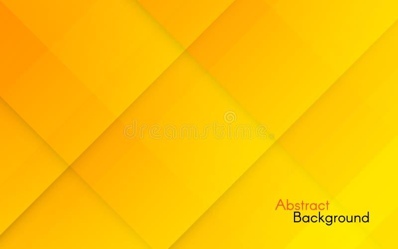 Fundo alaranjado abstrato Contexto geométrico amarelo com quadrados do inclinação Textura brilhante da cor com telhas diagonais ilustração stock