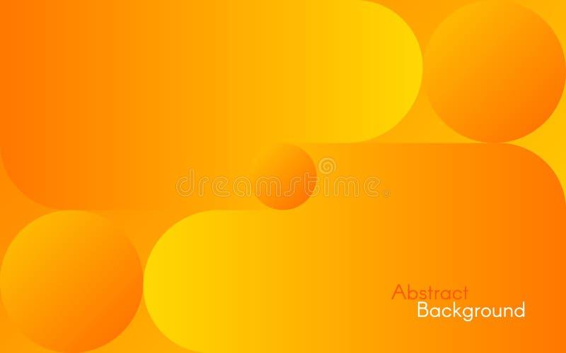 Fundo alaranjado abstrato Formas e inclinações amarelos brilhantes Projeto simples para a Web, folheto, inseto Vetor ilustração stock