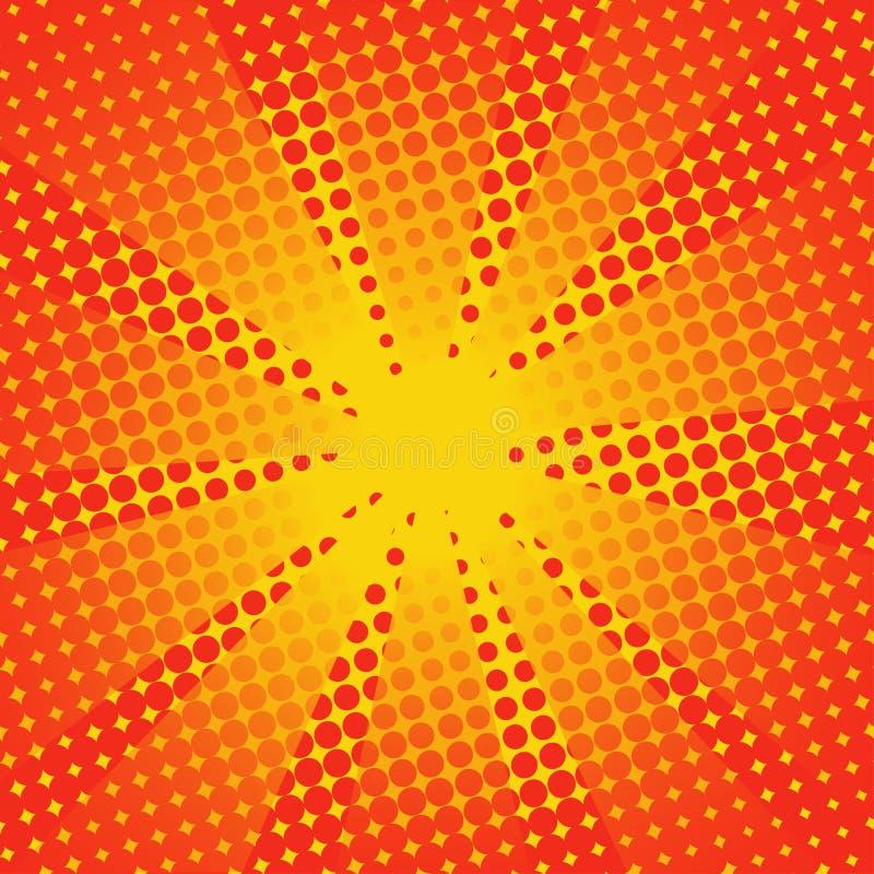 Fundo alaranjado amarelo cômico dos raios retros ilustração royalty free