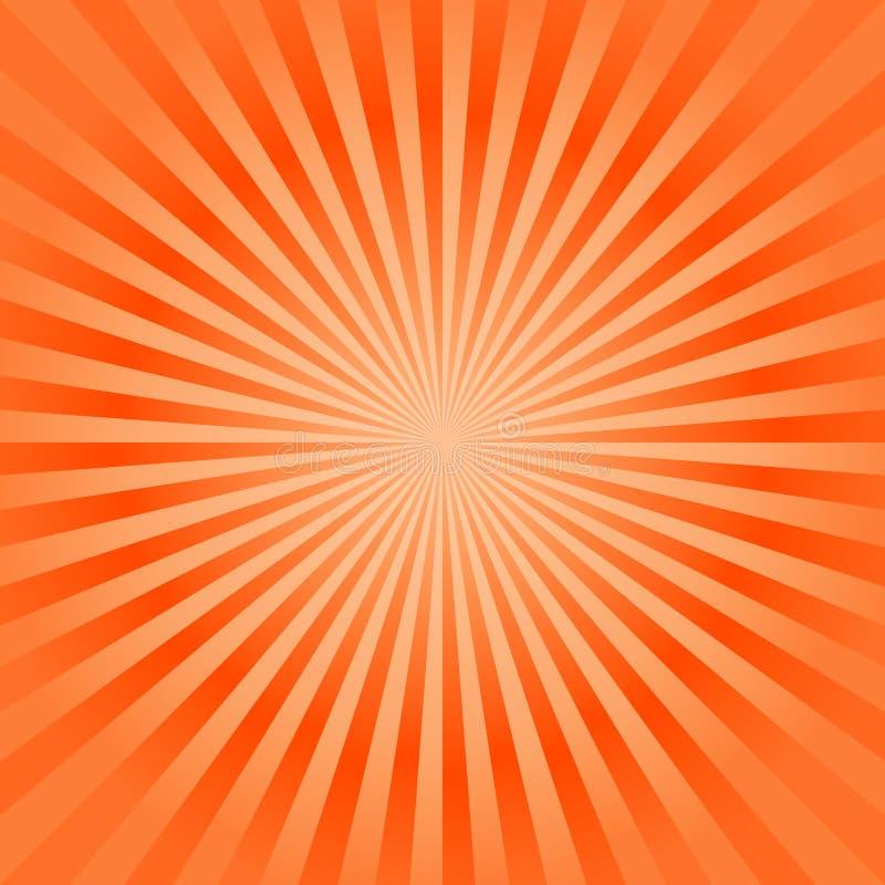 Fundo alaranjado brilhante dos raios do sum?rio Vetor ilustração stock