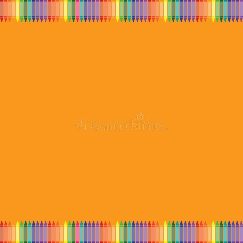 Fundo alaranjado com beira colorida do pastel ilustração royalty free
