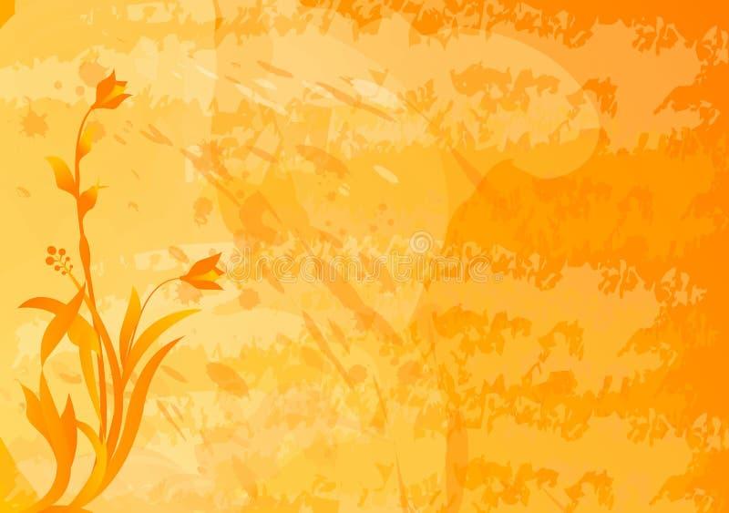 Fundo alaranjado de Grunge com motriz florais ilustração stock