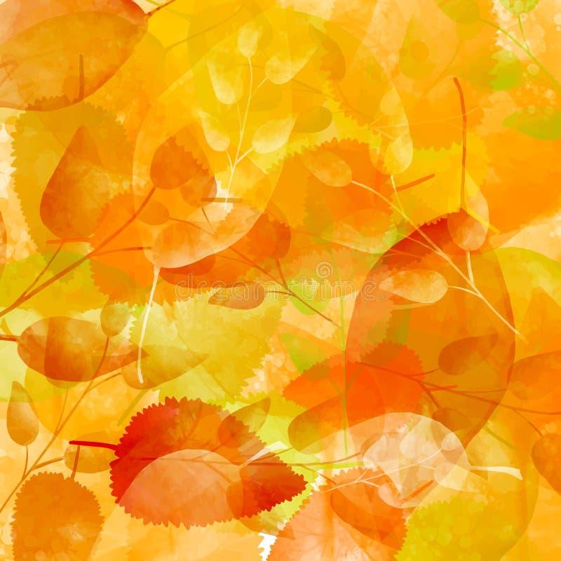 Fundo alaranjado do outono com teste padrão das folhas ilustração royalty free