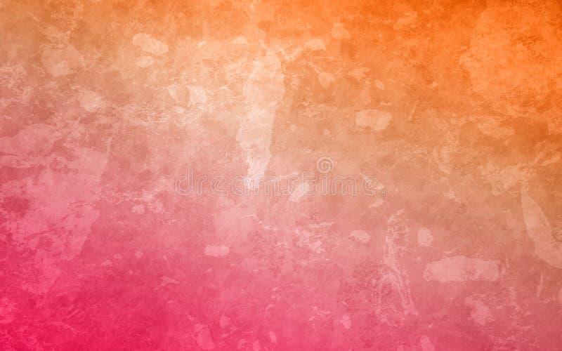 Fundo alaranjado e cor-de-rosa com cores do inclinação e projeto marmoreado afligido resistido da textura no grunge branco foto de stock