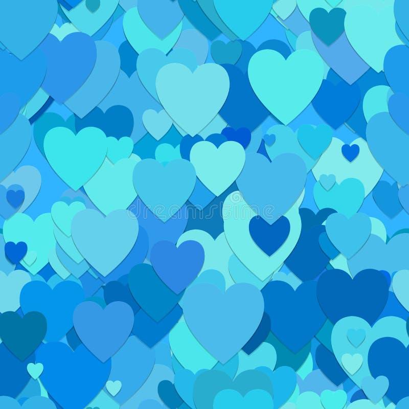 Fundo aleatório sem emenda do teste padrão do coração - vector o projeto dos corações na luz - tons azuis ilustração do vetor