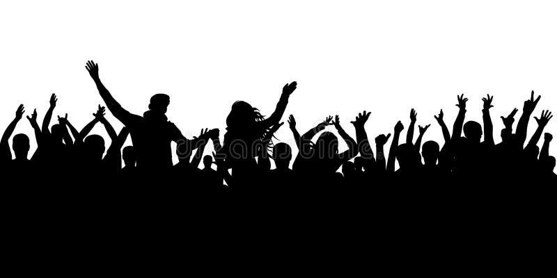 Fundo alegre da silhueta da multidão Os povos do partido, aplaudem Concerto da dança de fãs, disco ilustração royalty free