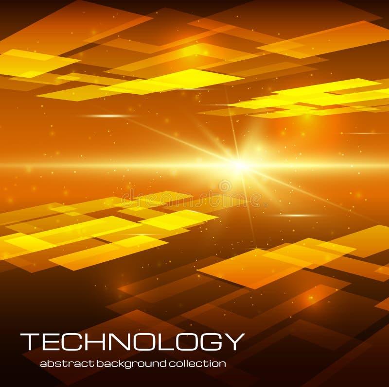 Fundo amarelo abstrato da tecnologia ilustração stock