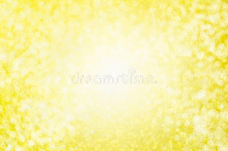 Fundo amarelo abstrato do borrão - CCB claro bonito do bokeh do ouro fotografia de stock