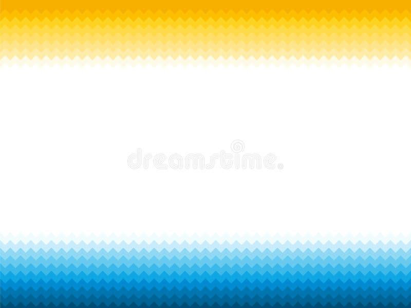 Fundo amarelo azul com ondas e sol de oceano ilustração stock