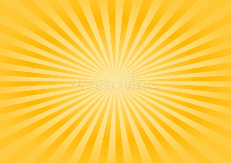 Fundo amarelo brilhante dos raios do sum?rio Vetor ilustração royalty free