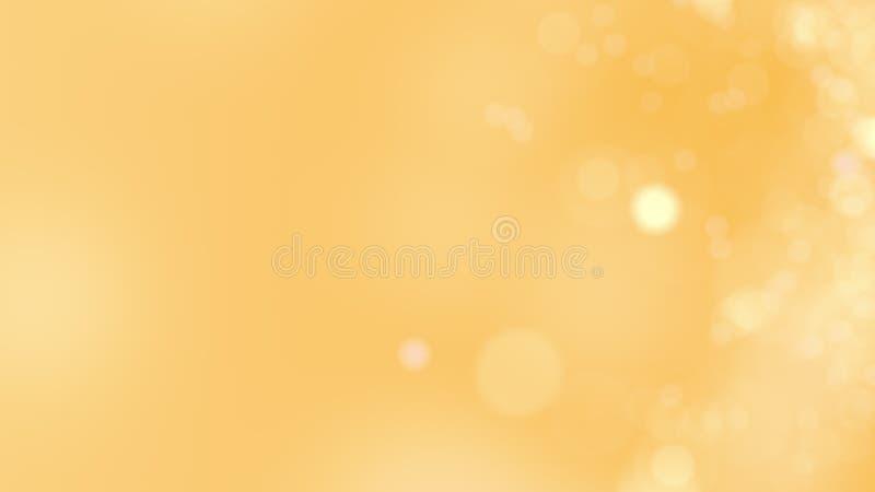 Fundo amarelo Círculos ou faíscas de incandescência abstratas do bokeh rendição 3d fotografia de stock