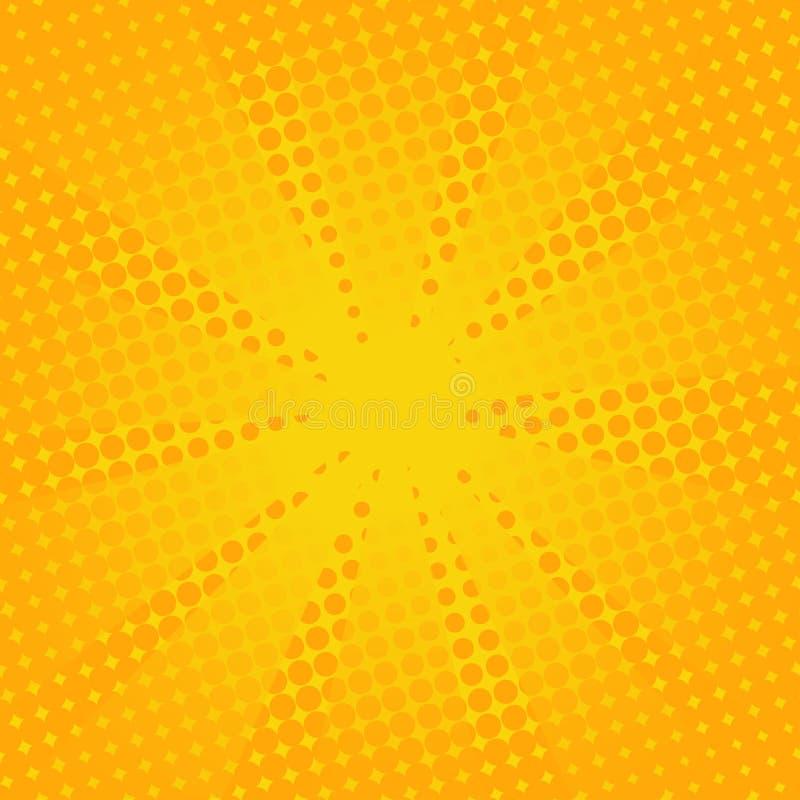 Fundo amarelo cômico dos raios retros ilustração royalty free