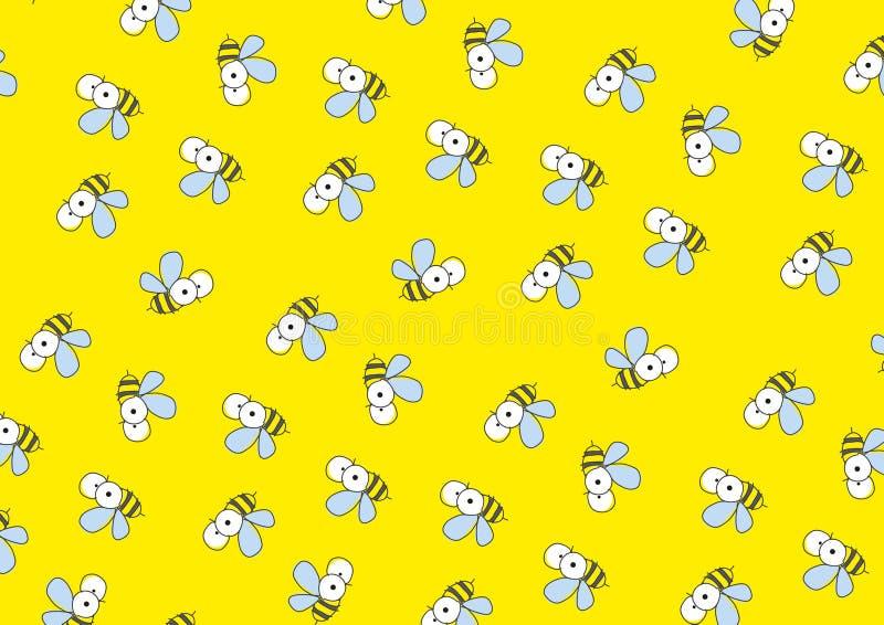 Fundo amarelo com abelhas. ilustração do vetor