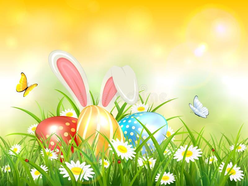 Fundo amarelo com coelho e ovos da páscoa na grama ilustração do vetor