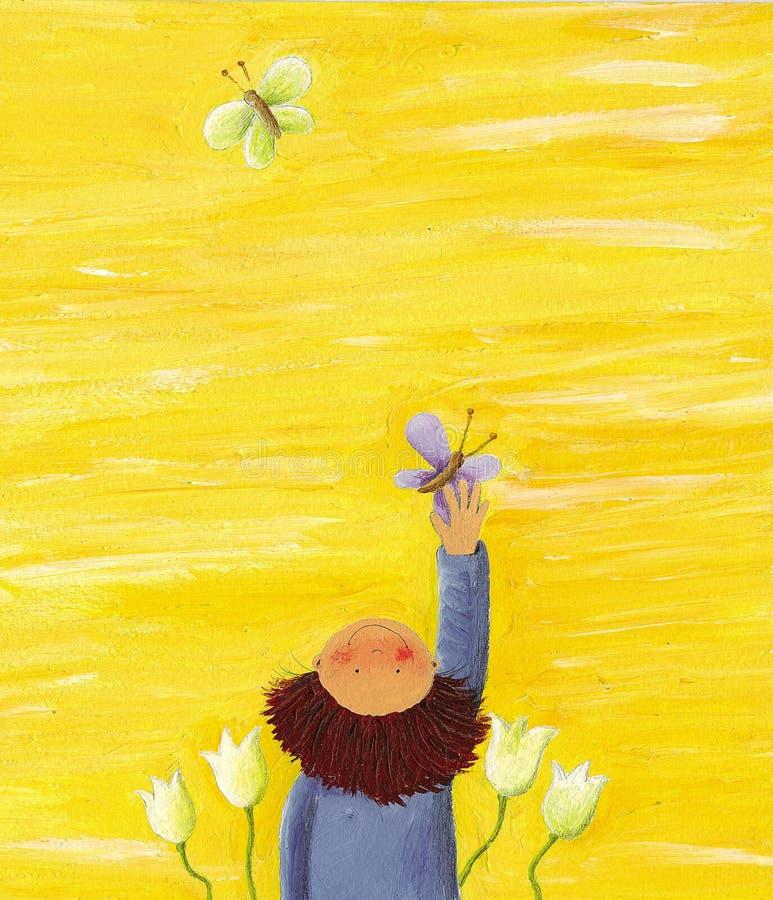 Fundo amarelo com menino ilustração stock