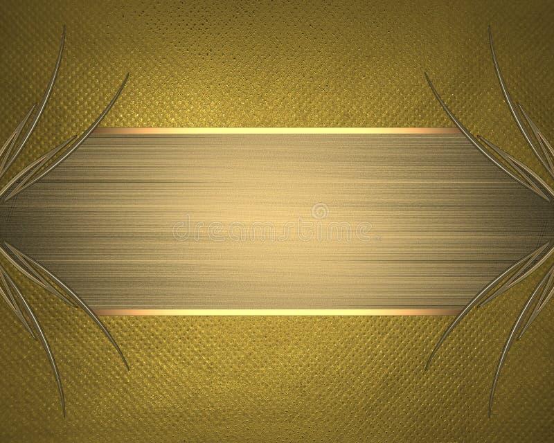 Fundo amarelo com um quadro do ouro Elemento para o projeto Molde para o projeto copie o espaço para o folheto do anúncio ou o in ilustração do vetor