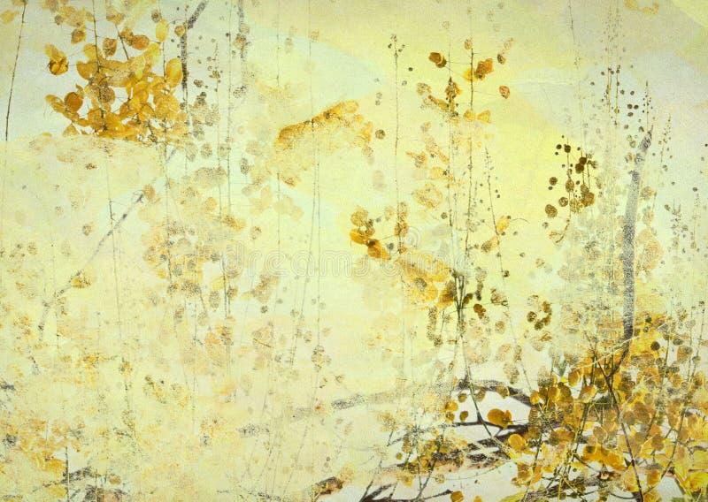 Fundo amarelo da arte de Grunge da flor ilustração stock