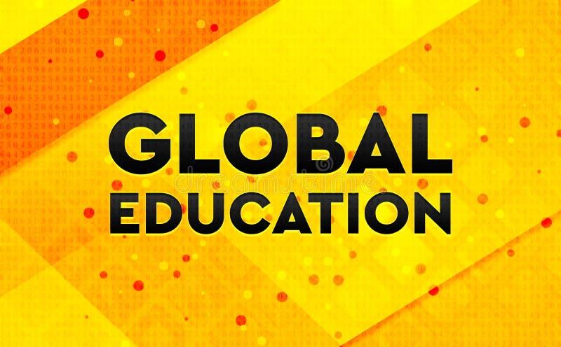 Fundo amarelo da bandeira digital abstrata global da educação ilustração do vetor