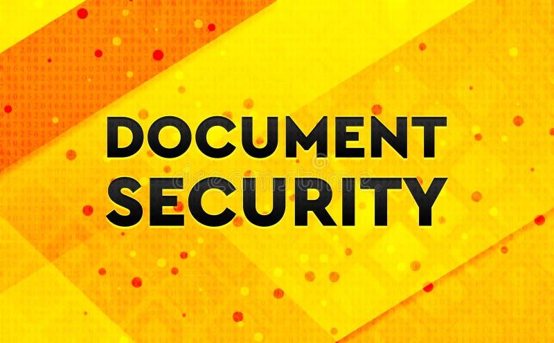 Fundo amarelo da bandeira digital abstrata da segurança do documento ilustração stock