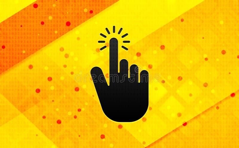 Fundo amarelo da bandeira digital do sumário do ícone do clique do cursor da mão ilustração royalty free