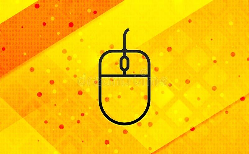 Fundo amarelo da bandeira digital do sumário do ícone do rato ilustração stock