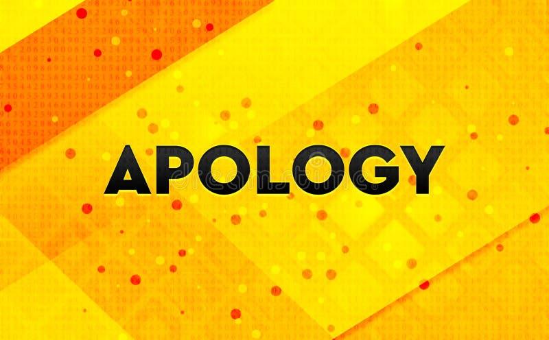 Fundo amarelo da bandeira digital do sumário da desculpa ilustração do vetor