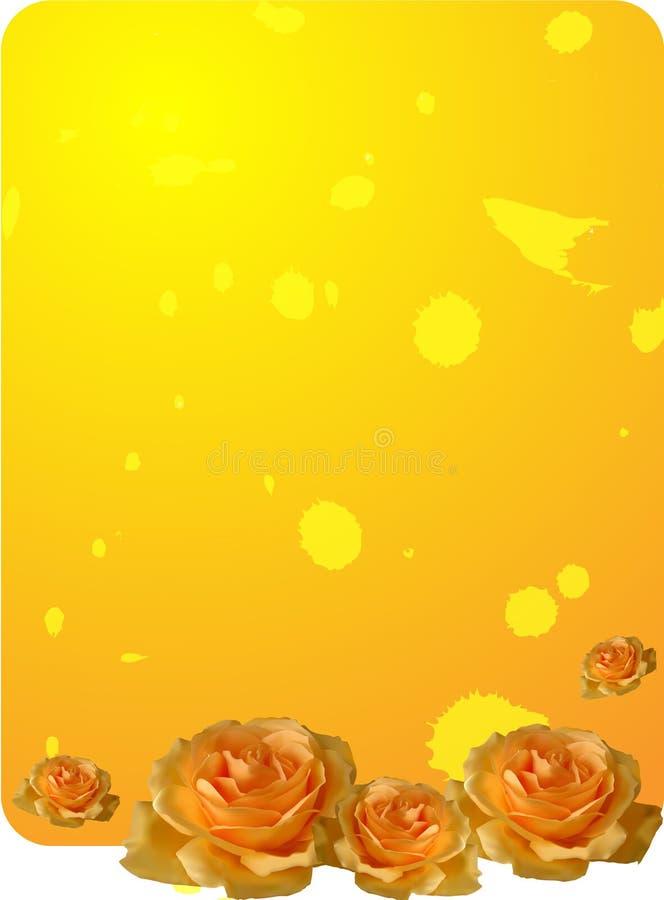 Fundo amarelo das rosas ilustração royalty free