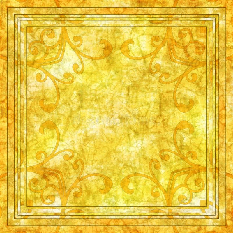 Fundo amarelo do batik ilustração do vetor