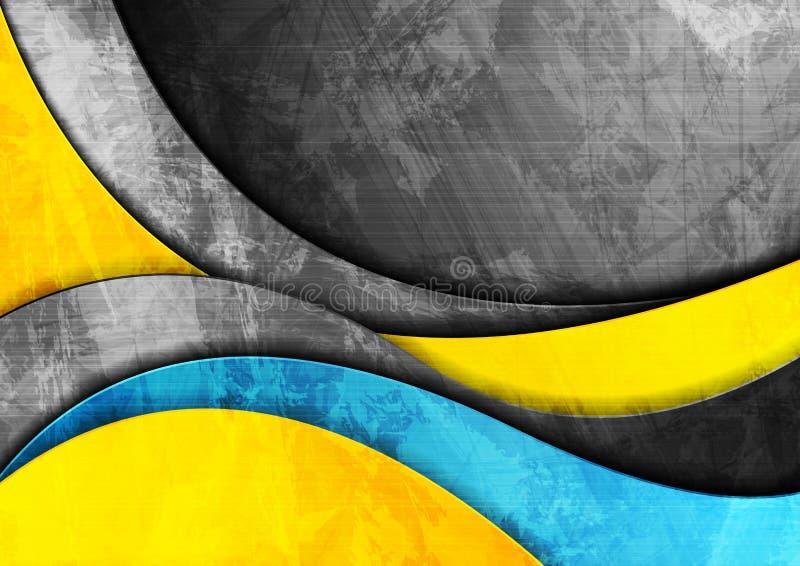 Fundo amarelo do Grunge e azul incorporado ondulado ilustração royalty free