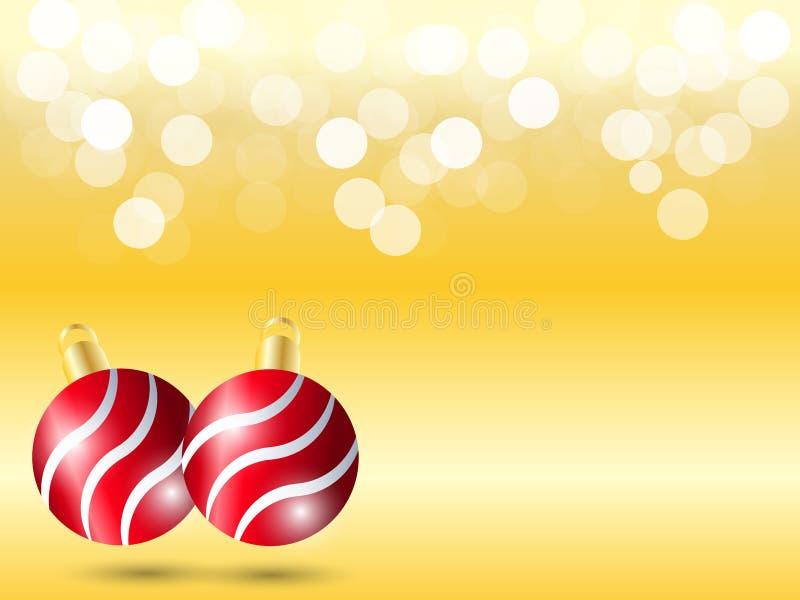 Fundo amarelo do inclinação com luz branca do bokeh Fundo do Natal com a decoração e sombra vermelhas da bola da fita ilustração do vetor
