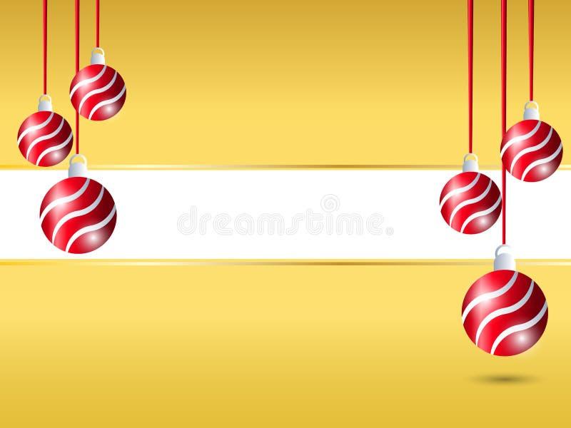 Fundo amarelo do Natal Decoração vermelha de suspensão da bola da fita no lado direito e esquerdo com espaço vazio branco para o  ilustração stock