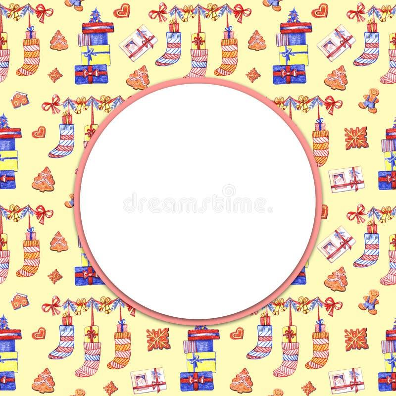 Fundo amarelo do Natal, quadro redondo do feriado, ilustração tirada lápis da cor ilustração do vetor