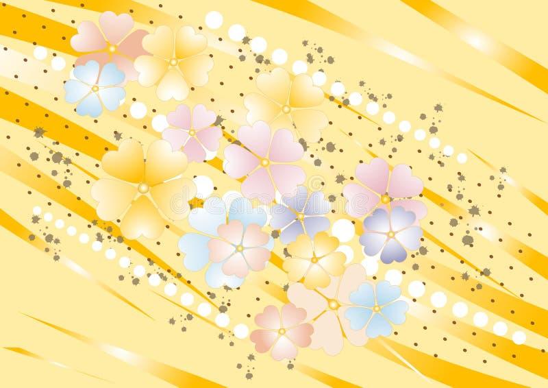 Fundo amarelo do nuance com flores. Fundo. ilustração stock