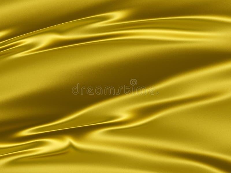 Fundo amarelo dourado da textura do cetim 3D ilustração royalty free