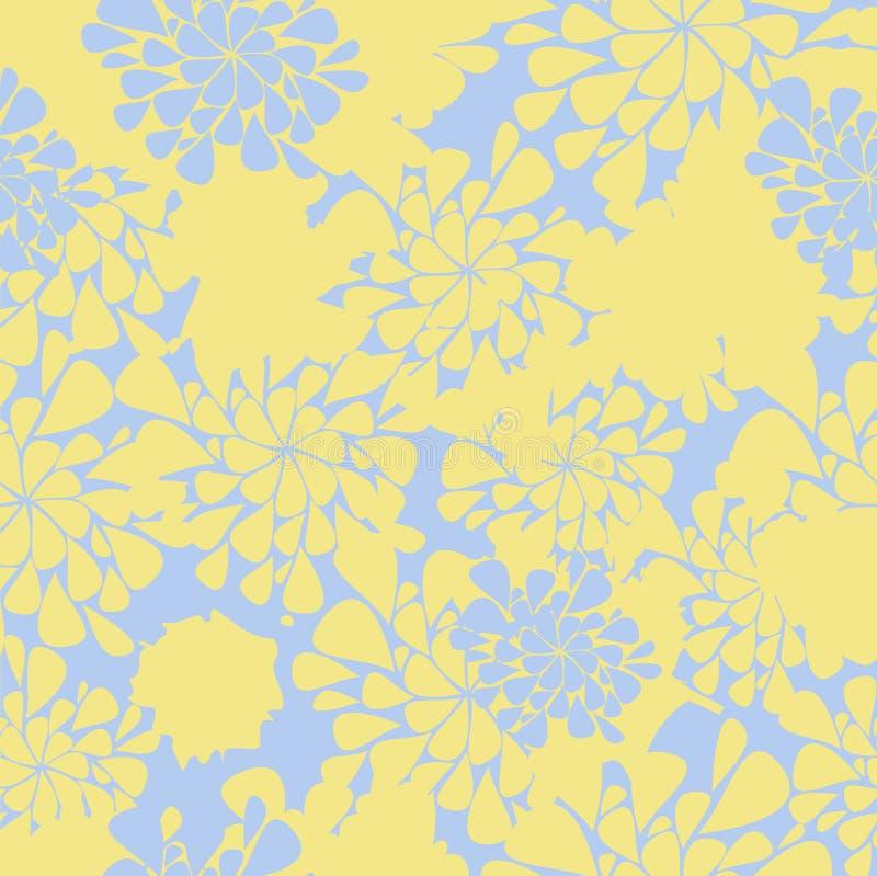 Fundo amarelo e azul da flor sem emenda ilustração stock