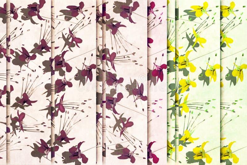 Fundo amarelo e roxo de choque da flor ilustração royalty free