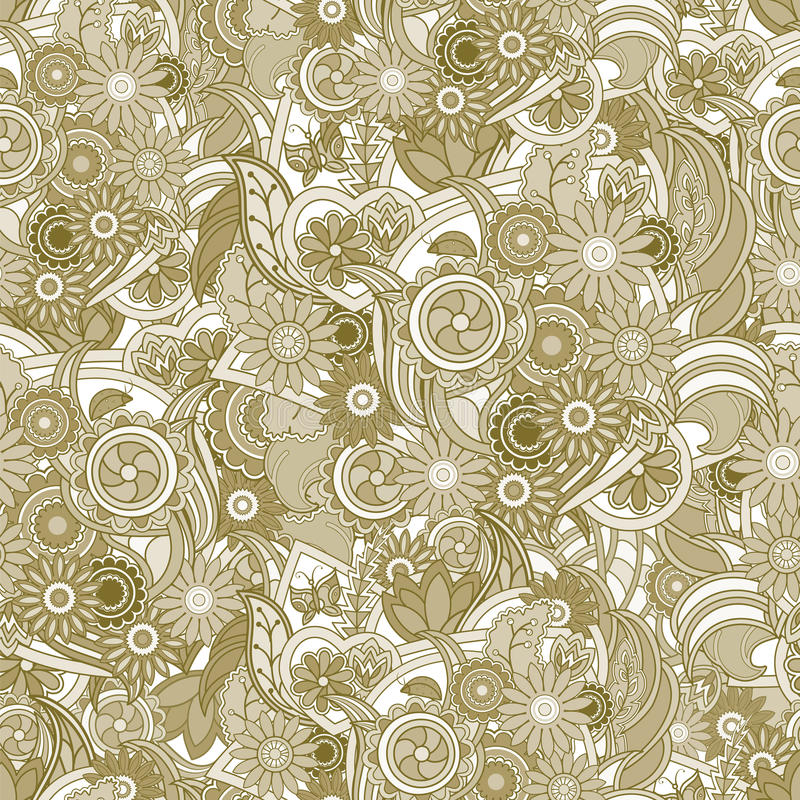 Fundo amarelo floral Textura sem emenda com flores e gree ilustração stock