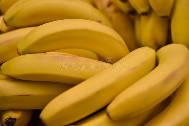 Fundo amarelo fresco das bananas do fruto do alimento Teste padrão fresco das bananas para a venda no mercado Agricultura e produ fotografia de stock