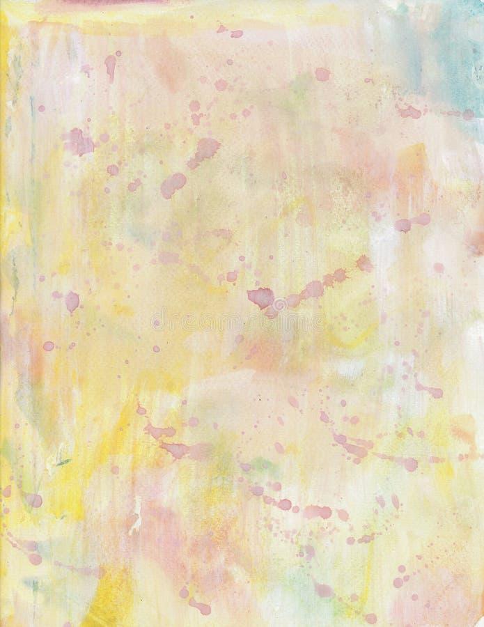 Fundo amarelo pastel abstrato da pintura da aquarela ilustração royalty free