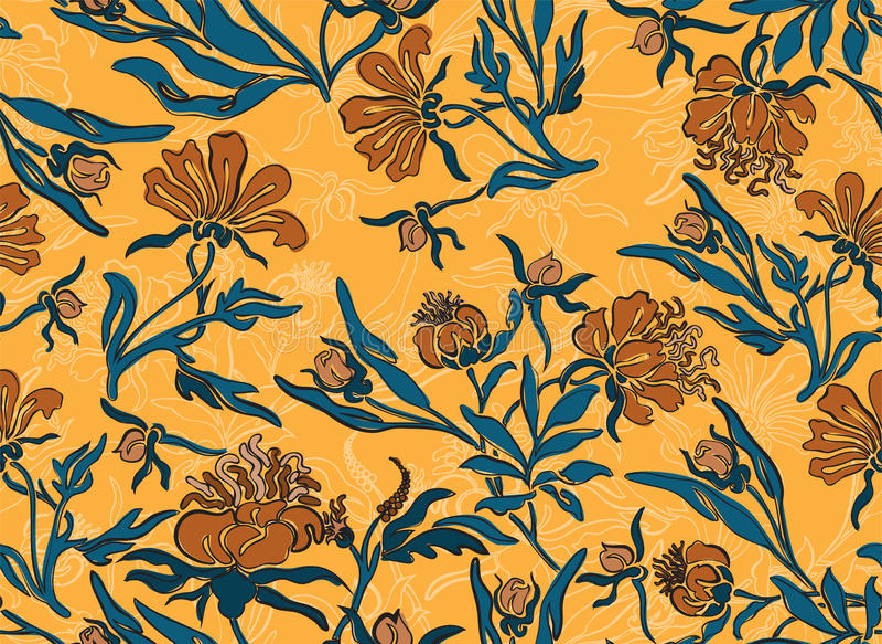 Fundo amarelo sem emenda da flor foto de stock royalty free