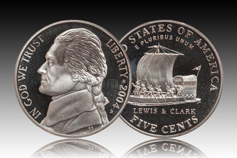 Fundo americano de um inclinação de cinco centavos fotos de stock royalty free